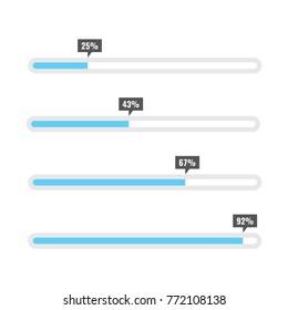 Preloaders and progress loading bars template. Vector illustration.
