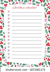 Pre-made Christmas stationary template for notes. Christmas checklist with cute little gifts as check boxes and lines for writing.
