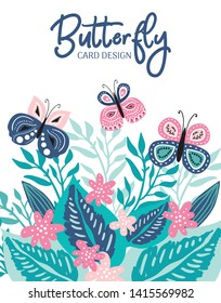 Premade greeting or business flyer and card design with colorful hand drawn butterfly and leaves. Sweet vector template for party invitation, t-shirts, flyer and banners