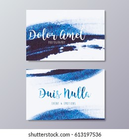 Premade photography business card design. Hand drawn abstract blue watercolor stroke texture and wedding event branding identity.