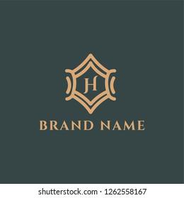 Premium abstract decorative letter H emblem logo design