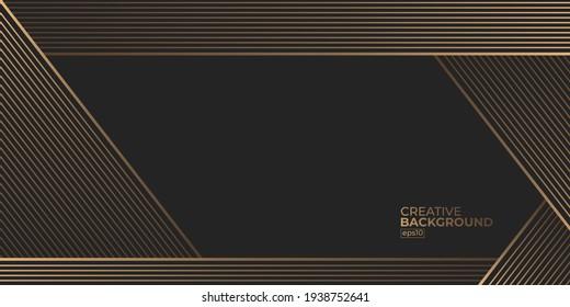 Premium Abstract Luxury black gold background design vector illustration for website, poster, brochure, presentation template etc