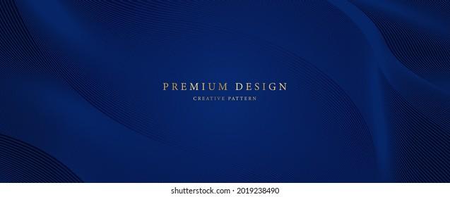 Premium background design with diagonal dark blue line pattern. Vector horizontal template for business banner, formal invitation, luxury voucher, prestigious gift certificate