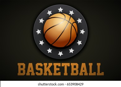 Premium Basketball Label. The symbol of competition and tournament. Vector Illustration isolated on white background.