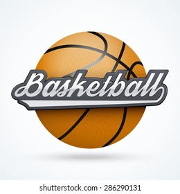 Premium Basketball label. Symbol of sport or club. Vector Illustration isolated on white background.