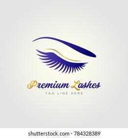 Premium Beauty Cosmetic Eye Lashes Logo.  Premium Lashes logo vector. Vector Art