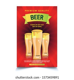 Premium Beer Glass Vector Illustration