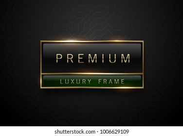 Premium black green label with golden frame on black geometric background. Dark luxury logo template. Vector illustration