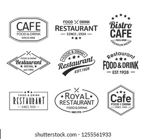 Premium cafe logo and royal restaurant branding symbol. Retro icon with stars, knife and fork for food and drink branding insignia. Vintage label for cooking brand. Bistro and cafe signs or banner