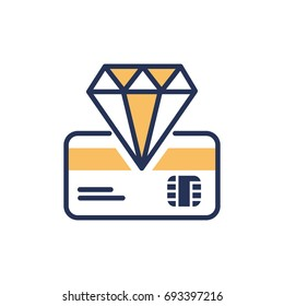 Premium Card - modern vector single line design icon. An item of the banking system, credit, debit card, golden diamond on white background. Business, finance solution, special offer, best money value