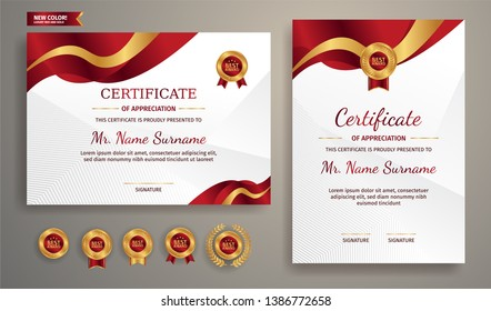 Premium certificate of achievement template, gold and red color. Clean modern certificate with gold badge. Certificate border template with luxury and modern line pattern. Diploma vector template