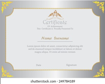 premium certificate template with additional and ribbon design elements
