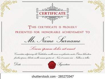 Raftels certificate template set on shutterstock premium certificate template design with border sealing wax and emblem on with background yelopaper Images
