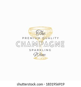 Premium Champagne Abstract Vector Sign, Symbol or Logo Template. Hand Drawn Sparkling Wine Glass Sketch with Typography. Elegant Beverage Emblem. Isolated.