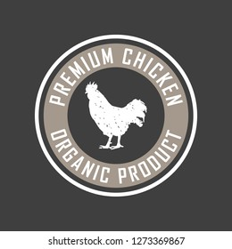 Premium chicken logo. Labels, badges and design elements. Retro style. Vector Illustration