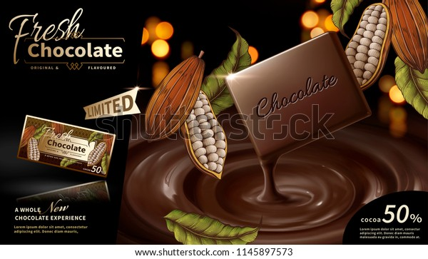 Premium Chocolate Ads 3d Illustration Engraved Stock Vector