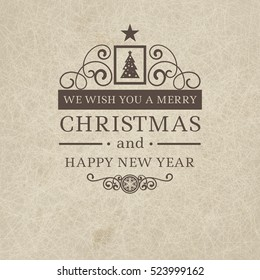 Premium class vintage retro flat style trendy Merry Christmas badge and New Year wish greeting. Vector illustration with brown text inscription on scratched beige sandy background for booklets