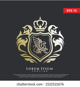 premium coat of arms griffin logo. luxurious icon, template design