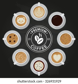 Premium Coffee cups, americano, latte, espresso, cappuccino, macchiato, mocha, art, drawings on coffee crema, view top with coffee logo. Flat vector design.