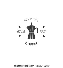 premium coffee logo vector vintage design.