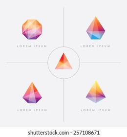premium collection of bright multicolored geometric polygon facet crystal gem logo icons