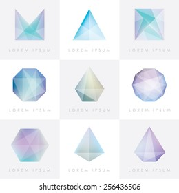 premium colorful collection set of trendy soft mesh facet crystal gem geometric logo icons and abstract shapes for business visual identity- triangle, polygons and rectangular designs