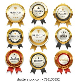 Premium commercials golden badge collection, vector illustration