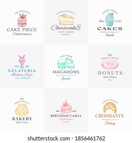 Premium Confectionary Abstract Signs, Symbols or Logo Templates Collection. Hand Drawn Ice Cream, Donut and Cakes with Modern Typography. Local Bakery Vector Emblems Concepts Bundle. Isolated.