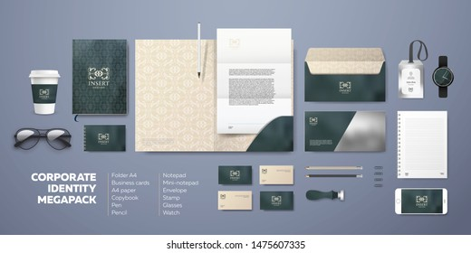 Premium corporate design with marble background. Vintage identity stationery mockups set template. Folder, envelope, visiting card, letterhead and notepad. Modern visual for business and team style.