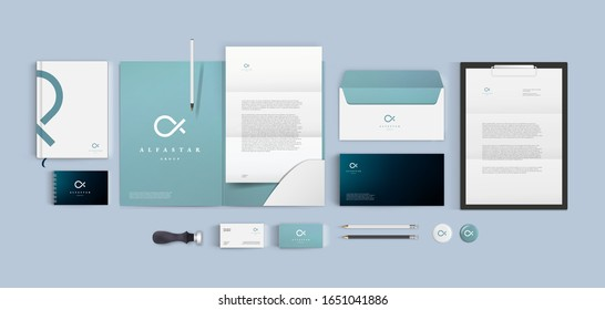 Premium corporate identity mockup set. Business stationery realistic design template. Blue color branding with folder, blank, brochure and visiting card. Minimal style vector logo.
