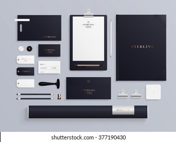 Premium corporate identity template set. Business stationery mock-up with logo sample. Set of envelope, notebook, card, folder, paper bag, etc. Vector illustration.