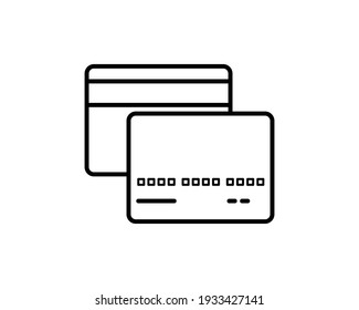 Premium credit card icon or logo in line style. High quality sign and symbol on a white background. Vector outline pictogram for infographic, web design and app development