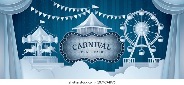 Premium Curtains stage with Circus Frame Border, Wheel Ferris Fun Fair, Carousels, Fairground, triangle bunting flags, Day Scene Carnival festival, Paper art vector and illustration