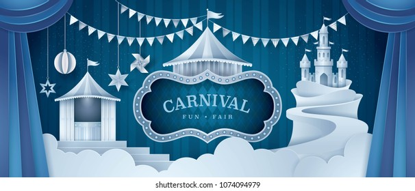 Premium Curtains stage with Circus Frame Border, Castle Amusement Park Carnival Fun Fair, triangle bunting flags, Day Scene festival, Paper art vector and illustration