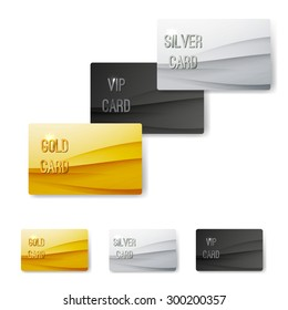 Premium customer member wave pattern card template collection. Vector illustration