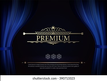 Premium Dark blue curtain scene gracefully. Cover with vertical motion blur and text. Like curtains in theater. Elegance vector backdrop with vintage sign