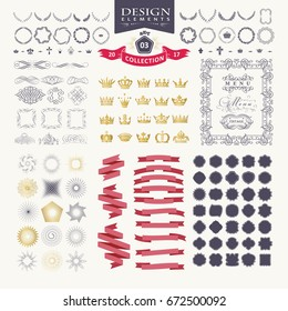 Premium design elements. Great for retro vintage logos. Starbursts, frames, crowns, laurels and ribbons