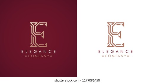 Premium design Logo with letter E in two color variations. Beautiful Logotype  for luxury company branding. Elegant and stylish identity template in red and gold .