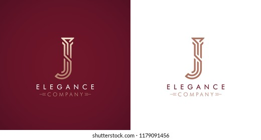 Premium design Logo with letter J in two color variations. Beautiful Logotype  for luxury company branding. Elegant and stylish identity template in red and gold .