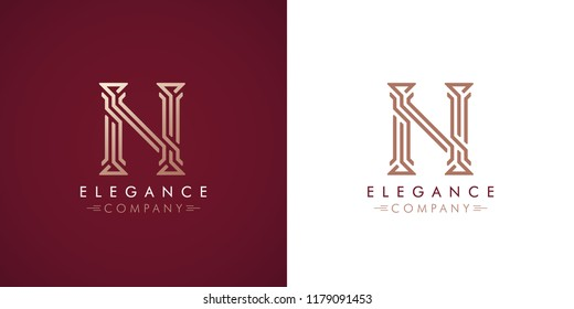 Premium design Logo with letter N in two color variations. Beautiful Logotype  for luxury company branding. Elegant and stylish identity template in red and gold .