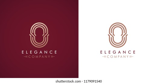 Premium design Logo with letter O in two color variations. Beautiful Logotype  for luxury company branding. Elegant and stylish identity template in red and gold .
