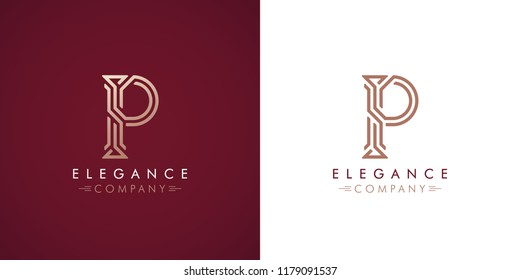 Premium design Logo with letter P in two color variations. Beautiful Logotype  for luxury company branding. Elegant and stylish identity template in red and gold .