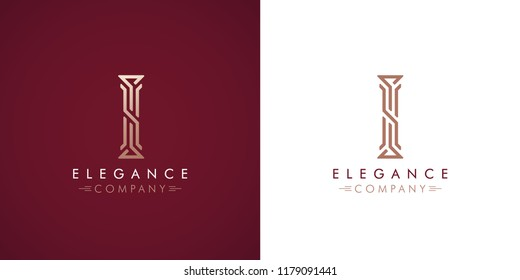 Premium design Logo with letter I in two color variations. Beautiful Logotype  for luxury company branding. Elegant and stylish identity template in red and gold .