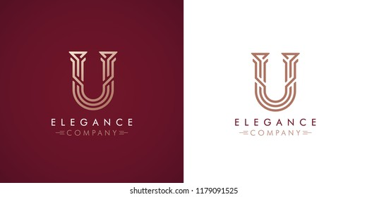 Premium design Logo with letter U in two color variations. Beautiful Logotype  for luxury company branding. Elegant and stylish identity template in red and gold .
