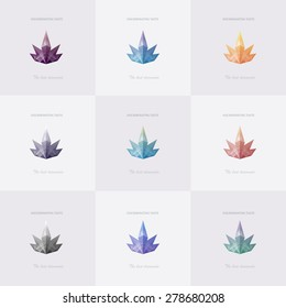 Premium diamond colorful collection. Set of trendy soft mesh facet crown crystal, diamond, gem. Geometric logo abstract shapes for business visual identity - triangle,  and rectangular designs.