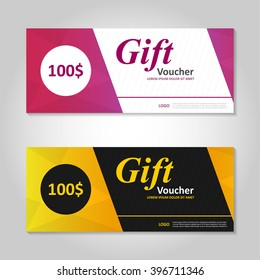 Premium elegance pink and gold gift voucher template layout design set, certificate discount coupon pattern for shopping vector