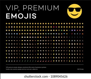Premium emojis, stickers, emoticons flat vector illustration symbols. Hands, man, woman, people activity icons set, collection.