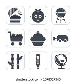 Premium fill icons set on white background . Such as carriage, little, child, boy, grilled, temperature, food, doughnut, grilling, chef, globe, map, cake, dessert, happy, sweet, cooking, drink, global