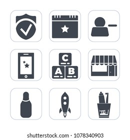 Premium fill icons set on white background . Such as hygiene, toothpaste, interface, delete, launch, decoration, food, display, star, health, secure, market, mobile, success, check, ball, child, store
