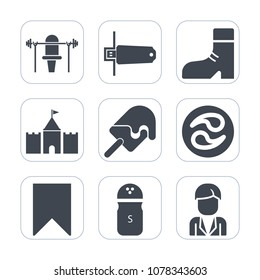 Premium fill icons set on white background . Such as mon, fashion, pepper, ice, clothing, foot, food, digital, boot, japanese, white, style, salt, dessert, card, male, footwear, equipment, network